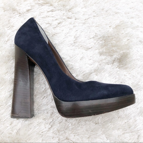 Marni  Schuhes  Marni  Blau Suede Pumps With Wood Heel   Poshmark 759f55